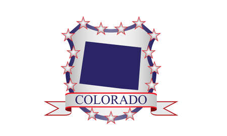 state of colorado: Colorado crest with state map and stars