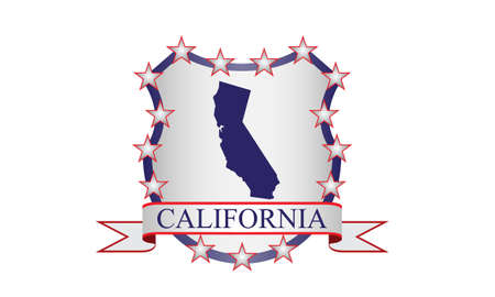 California crest with state map and stars Illustration