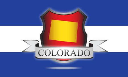Colorado state kaart, vlag, zegel en de naam Stock Illustratie