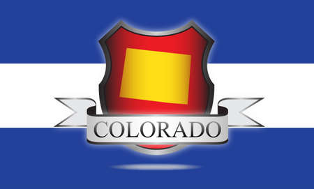 state of colorado: Colorado state map, flag, seal and name