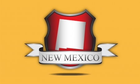New Mexico state map, flag, and name  Vector
