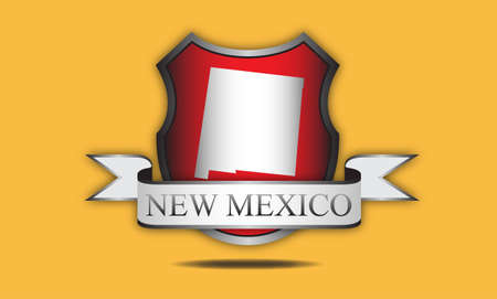 mexico map: New Mexico state map, flag, and name  Illustration