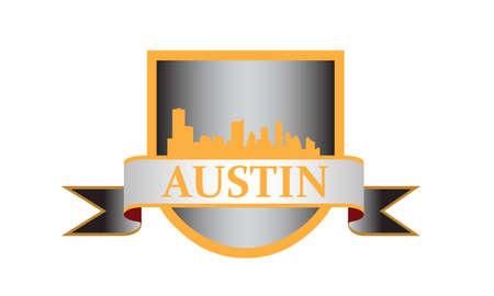 austin: City of Austin crest with high rise buildings skyline Illustration