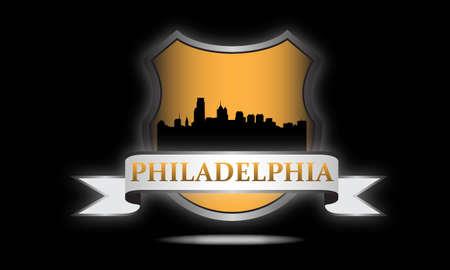 philadelphia: City of Philadelphia crest with high-rise buildings skyline