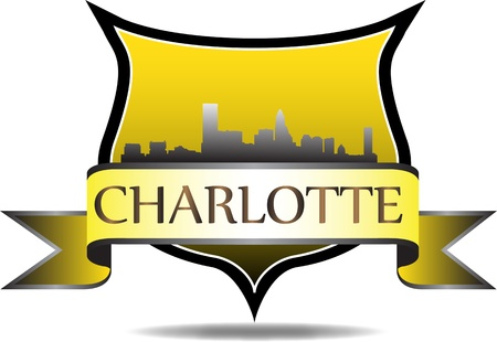 charlotte: City of Charlotte crest with  high rise buildings skyline