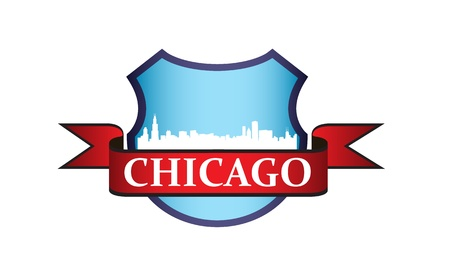 chicago skyline: City of Chicago crest with high rise buildings skyline Illustration