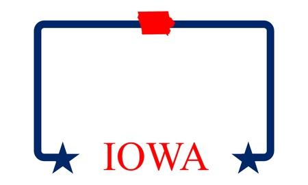 Iowa state map, frame and name  Ilustração