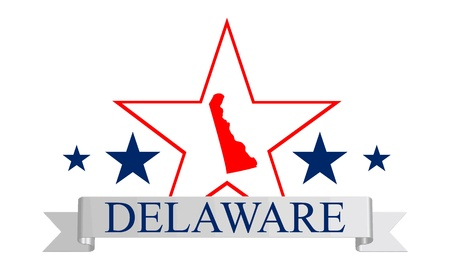 dover: Delaware state map, star and name