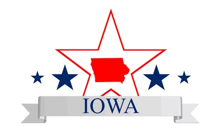 Iowa state map, star and name