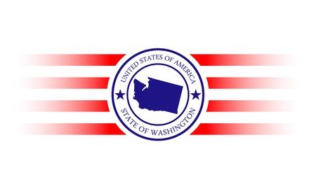 Washington state map and name stamp  Иллюстрация