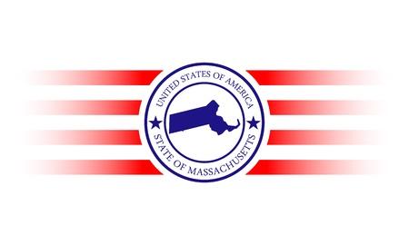 マサチューセッツ州地図と名前スタンプ
