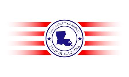 Louisiana state map stamp with name. Illusztráció