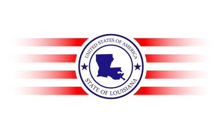 louisiana flag: Louisiana state map stamp with name. Illustration