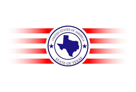 Texas state map, flag and name stamp. Vector