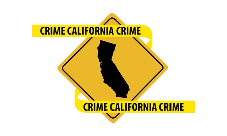 Road sign with California state map and crime tape