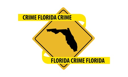 Road sign with Florida state map and crime tape  Illustration