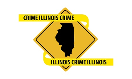 Road sign with Illinois state map and crime tape