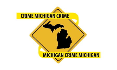Road sign with Michigan state map and crime tape  Stock Illustratie