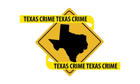 Road sign with Texas state map and crime tape