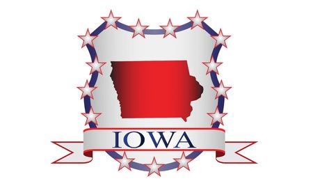 Iowa state map, stars and name  Ilustração