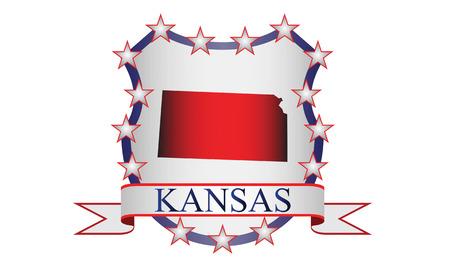 Kansas state map, stars and name  Çizim