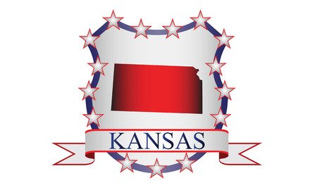 liberal: Kansas state map, stars and name  Illustration