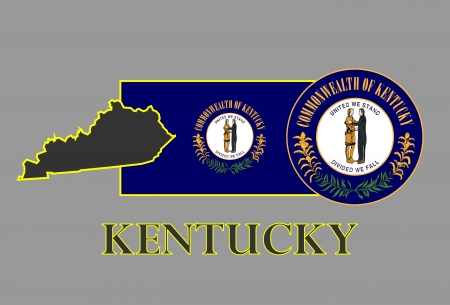 Kentucky state map, flag, seal and name  Illustration