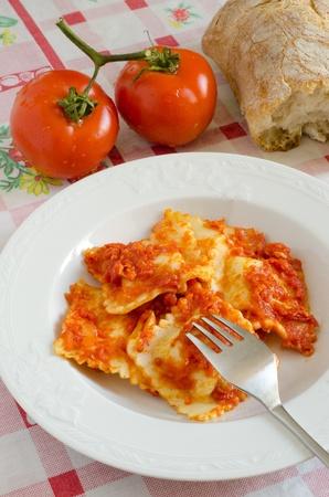 Sardinian Ravioli on the table photo