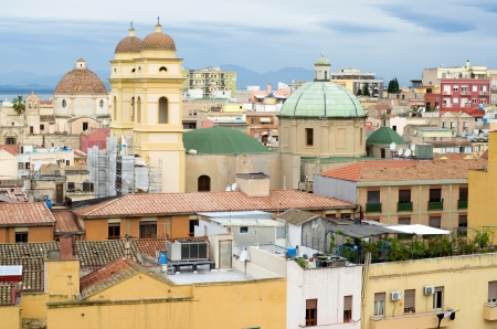 View of Cagliari and her church called S Anna Stock Photo