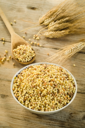 Fregola, typical sardinian durum wheat semolina photo