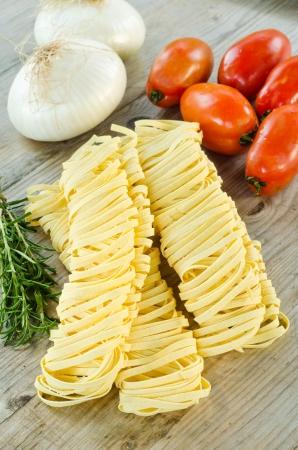 Homemade tagliatelle, italian pasta photo