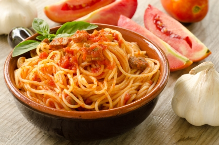 Spaghetti with tomato sauce and meat Stock Photo - 14714648