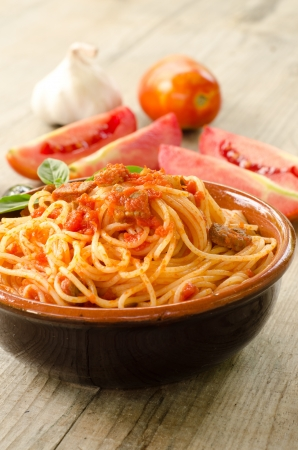 Spaghetti with tomato sauce and meat photo