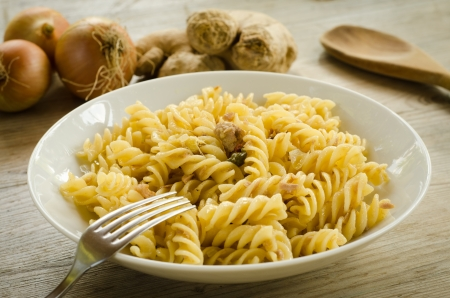 Fusilli with tuna,capers,onion and ginger photo