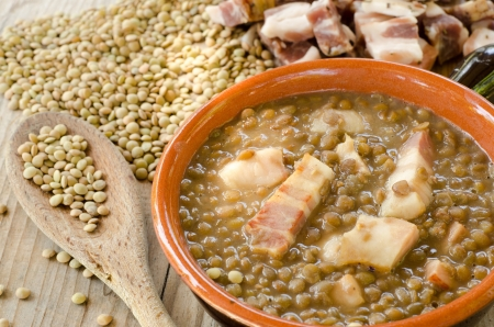 Lentil soup and bacon Stock Photo