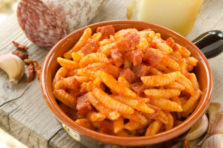 Malloreddus with tomato sauce and sausage, Sardinian Cuisine Stock Photo - 15844101