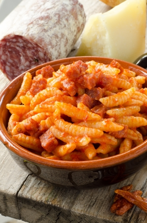 Malloreddus with tomato sauce and sausage, Sardinian Cuisine Stock Photo - 15844102