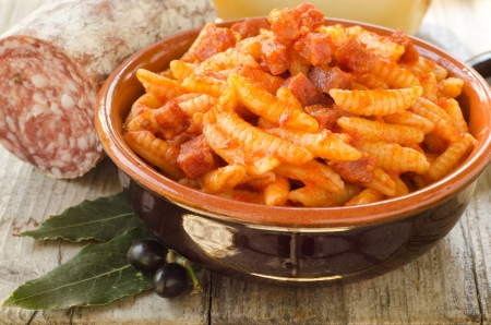 Malloreddus with tomato sauce and sausage, Sardinian Cuisine Stock Photo - 15844099