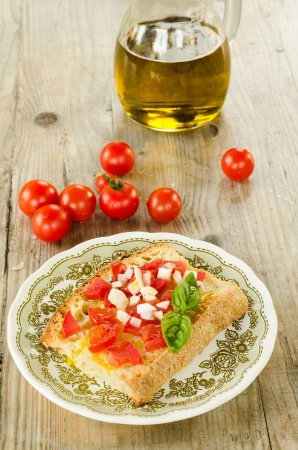 pic nic: Italian bruschetta with tomato,onion,basil and olive oil