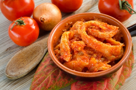 Tripe with tomato sauce photo