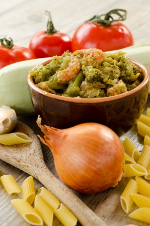 Sauce with cabbage and shrimps and other ingredients Stock Photo - 16412608
