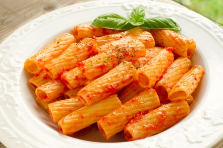 maccheroni: Maccheroni with tomato sauce Stock Photo