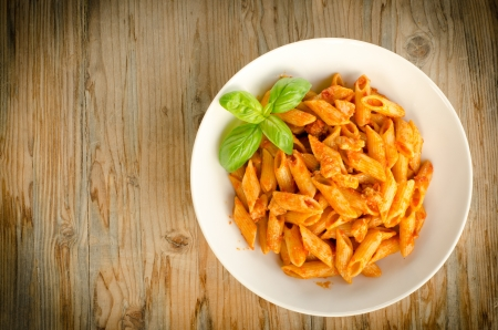 Penne with ragout photo