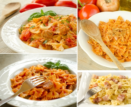 Collage of various recipes of italian pasta photo