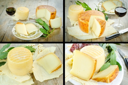 Collage of pecorino, traditional cheese from Sardegna
