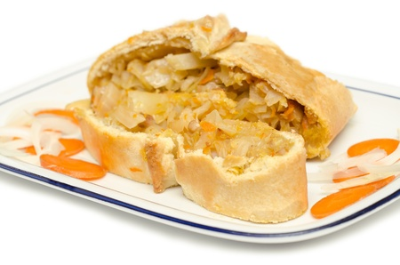 Savory pie stuffed with cabbage,onion,carrot and beef Stock Photo - 18230371
