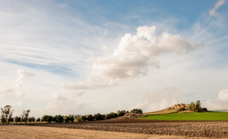 plowed: Plowed field and sky background Stock Photo