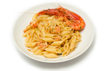 pastasciutta: Penne with shrimps