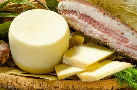 Pecorino and lard, sardinian cuisine Stock Photo