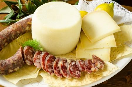 Pork Sausage and pecorino cheese, Sardinian Food